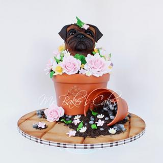 Grumpy Pug: Spring Edition - Cake by Mr Baker's Cakes