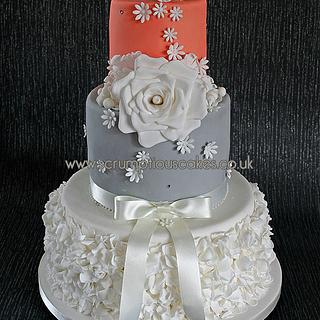 Coral & Grey Ruffle Wedding Cake