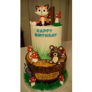 Woodland themed 1st birthday cake