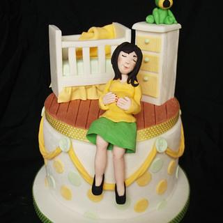 """""""Waiting for Baby"""" baby shower  cake"""