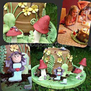 """Enchanted Upturned Flower Pot Cake with """"Welly Fairy"""""""