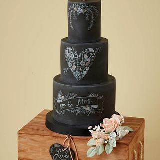 Chalkboard and Wooden Crate Wedding Cake