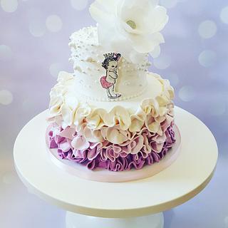 Princess ruffled baby shower  - Cake by Piece O'Cake