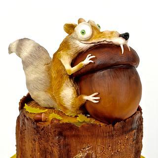 Scrat and acorn on the stump