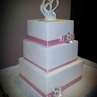 Square White Damask Wedding Cake