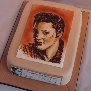 Chocolate Painting, airbrushed - Elvis Cake