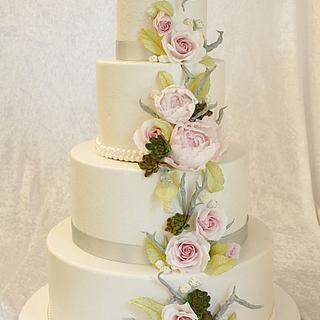 Peony and rose wedding cake