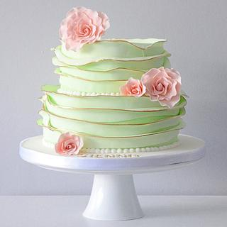 Green and gold christening cake  - Cake by Kayleigh's cake boutique
