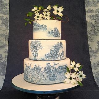 Toile de jouy cake and Dogwood