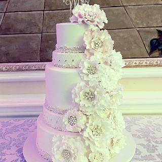 Peony And Pearls Wedding Cake