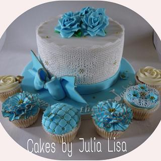 Light blue roses & lace cake with cupcakes