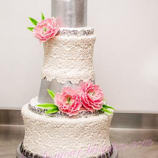 Embroidery, silver & pink peonies Wedding cake!