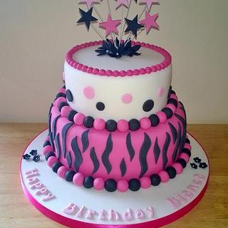 2 Tiered Pink,Black & White Zebra,Animal Print Birthday Cake