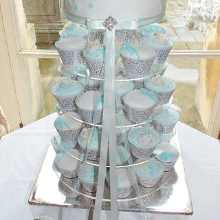 wedding Cupcake Tower in Tiffany Blue