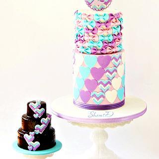 Chevron Hearts and Bows - Cake by Shamima Desai