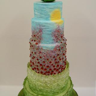 Field of Poppies (Cake International Silver Award) - Cake by The Custom Cakery