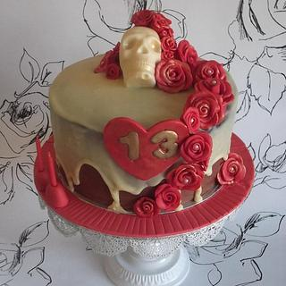 Chocolate Skull and Roses - My 1st ganached cake