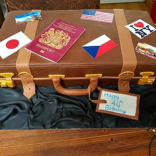 Suitcase themed cake