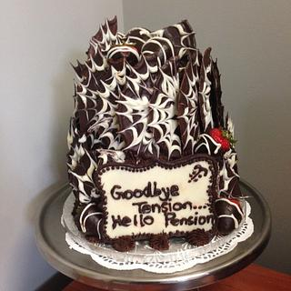Two Tiered Chocolate and Vanilla Retirment Cake - Cake by Lilissweets