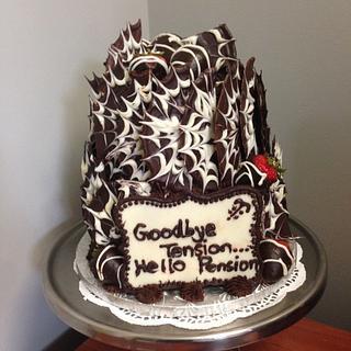 Two Tiered Chocolate and Vanilla Retirment Cake