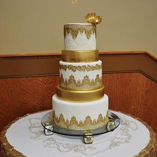 Lace and Gold Wedding Cake