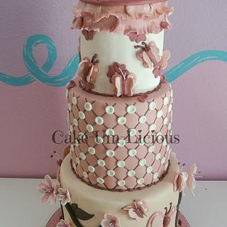 Cherry Blossom & Butterfly Cake