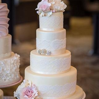 Vintage Lace wedding Cake - Cake by CakeyBakey Boutique
