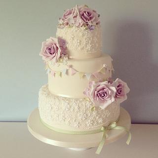 Vintage rose and bunting wedding cake - Cake by Samantha Tempest