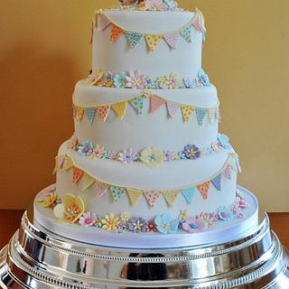 Bunting Wedding Cake - Cake by Sylvania Cakes - Exeter