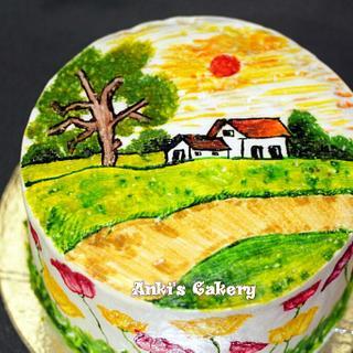 Nature's Love - Hand Painted on Whip Cream - Cake by Ankita