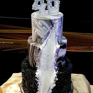 Obsidian & Diamond Geode Cake
