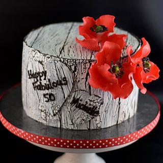 Red Poppy Cake - Cake by Cathy Leavitt