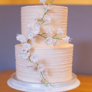 Buttercream 2 tier wedding cake with cherry blossoms