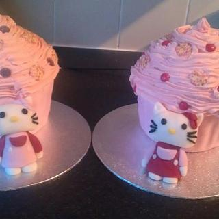 Hello Kitty Giant Cupcakes with handmade figures