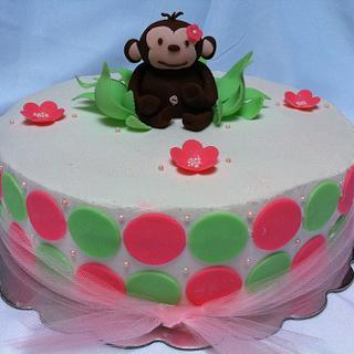 Pink Mod Monkey - Cake by SugarMommas Custom Cakes