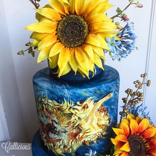 Van Gogh Sunflowers Wedding Cake