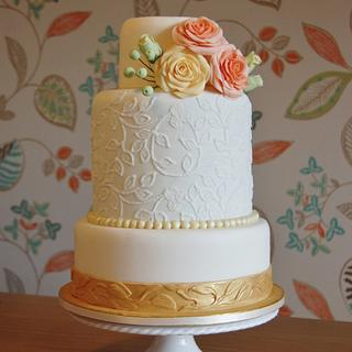 Vintage Gold and Pastel Rose Cake