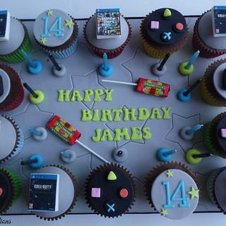 Playstation themed cupcake board