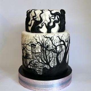 Painted castle into woods cake