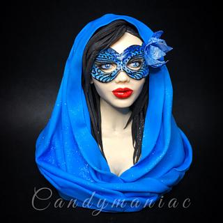 Lady in blue mask