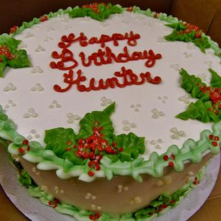 Winter holly and berries birthday Buttercream cake