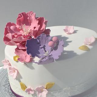 Pastel colours open peony flower cake