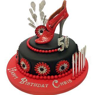 Red & Black Designer Shoe Cake