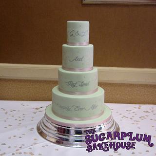 Pastel Mint Green & Pink Wedding Cake