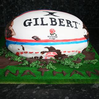 Hand painted Rugby ball sponge cake