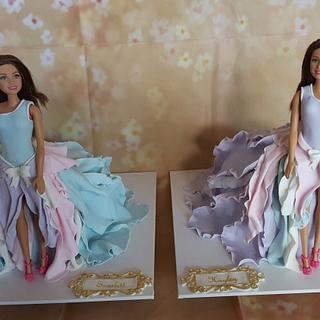 Barbie cakes for twins turning 3 - Cake by Five Starr Cakes & Toppers