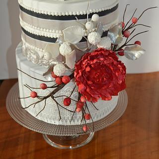 Red peony cake - Cake by Paula Rebelo