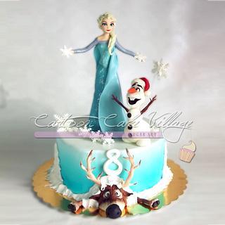 Elsa, Olaf & Sven on Frozen Cake