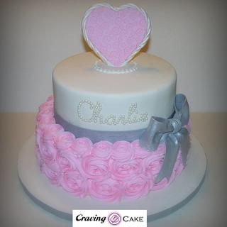Rosette Baby Shower Cake - Cake by Craving Cake