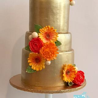 Golden Fall Wedding Cake